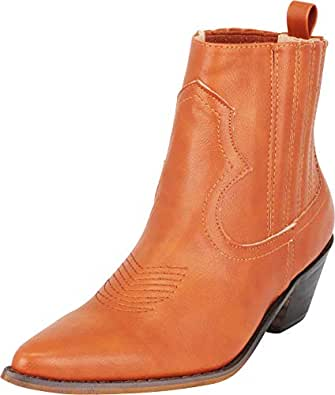 Cambridge Select Women's Western Pointed Toe Stitched Low Heel Ankle Cowboy Boot,10 B(M) US,Cognac PU