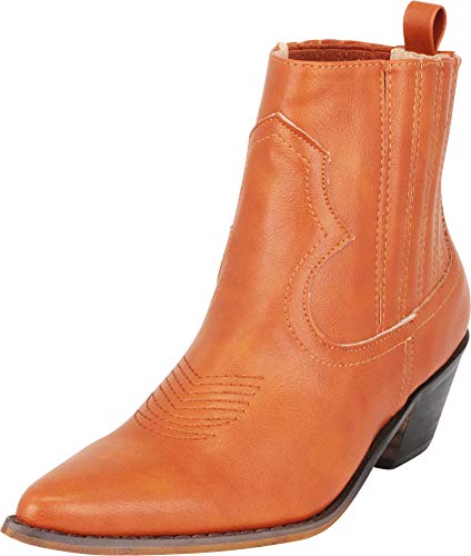 Cambridge Select Women's Western Pointed Toe Stitched Low Heel Ankle Cowboy Boot,5.5 B(M) US,Cognac PU