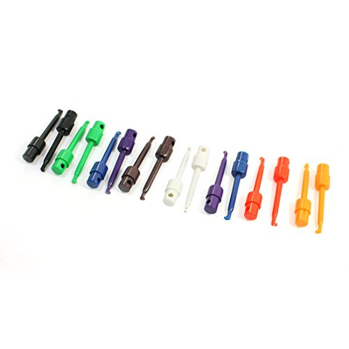 Uxcell a14032100ux0434 Multi meter Part Colorful Electrical Testing Hook Clip Grabber (Pack of 16)