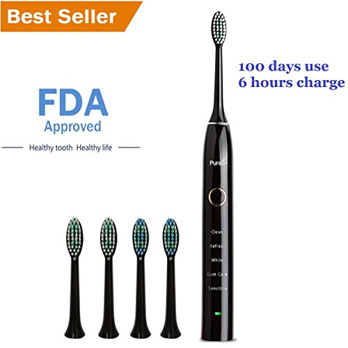 Price comparison product image Sonic Electric Toothbrush Travel Rechargeable for Superior Dental Hygiene Daily Clean, Gum Care, Sensitive, Whitening, and Deep Clean Oral Health Micropulse Bristles with 4 Replacement Heads - Black