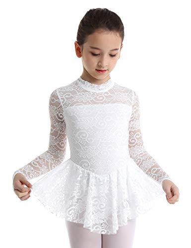 MSemis Kids Girls High Turtleneck Floral Lace Figure Ice Skating Roller Skating Dress Ballet Dance Leotard White -