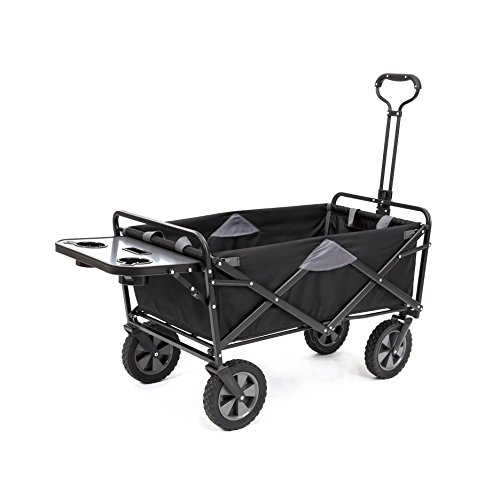 mac-sports-collapsible-folding-outdoor-utility-wagon-wagon-with-side-table-black