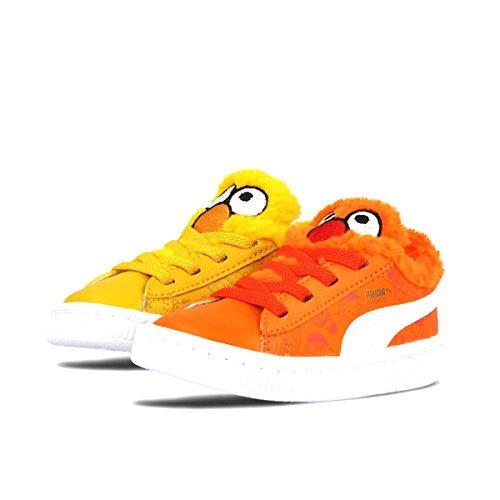 PUMA Sesame Street Basket Kids Sneaker (Toddler), Dandelion/Vibrant Orange Black, 4 M US (Sesame Street Toddler Shoes)