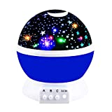 Best Christmas Hot Toys for 2-10 Year Old Boys Girls Baby, Ouwen Star Rotating Night Light for Kids Room 2-10 Year Old Boys Gifts for Boys Kids Blue OWUSNL001