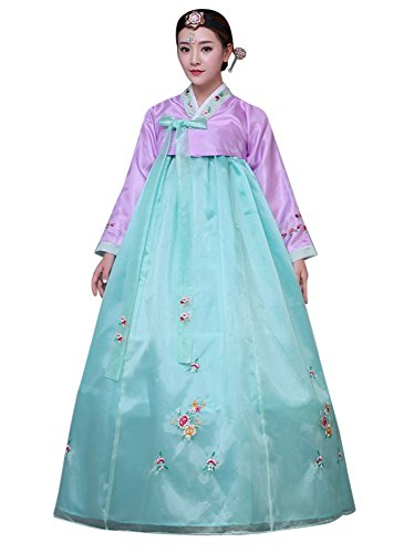 Korean Dress Traditional - CRB Fashion Womens Korean Traditional Hanbok Top Dress Costume with Headpiece Set Outfit (Large, Lilac)