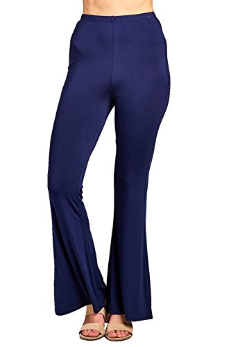 Elastic Waist Bell Bottom Stretch Flared Solid Long Wide Leg Legging Pants (Medium, Navy) (Elastic Waist Stretch Leggings)