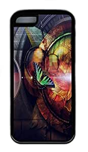 for iphone 5c Case Butterfly Abstract TPU Custom for iphone 5c Case Cover Black