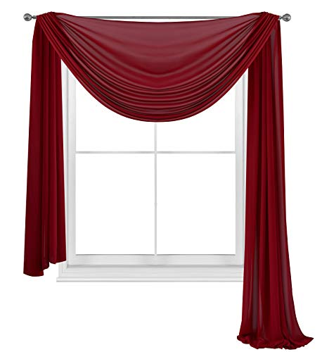 WPM WORLD PRODUCTS MART Elegance Sheer Voile Window Curtain Scarf Fully Stitched and Hemmed Valance 216'' Inch Long (Burgundy, 38