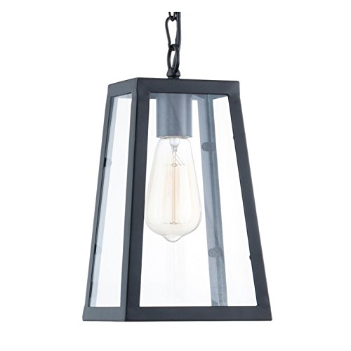 Light Society Serendipity Mini Pendant Light, Matte Black Shade with Clear Glass Panels, Vintage Modern Industrial Lighting Fixture (Vintage Mini Pendant)