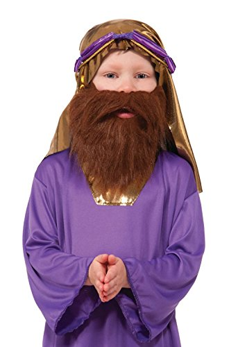 Mememall Fashion Child Wiseman Beard Costume Accessory (Brown) ()