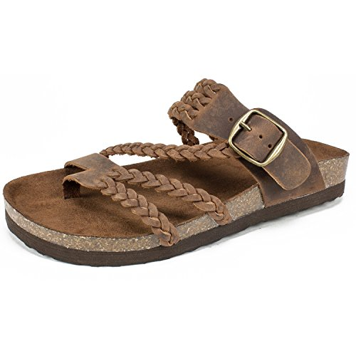 WHITE MOUNTAIN Shoes Hayleigh Women's Sandal, Brown/Leather, 8 M - Leather Womens Sandals