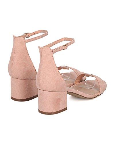Sandalo Con Tacco In Finta Pelle Scamosciata Breckelles - Basic, Elegante, Formale, Versatile, Casual - Sandalo Con Cinturino Alla Caviglia - Gg64 By Blush