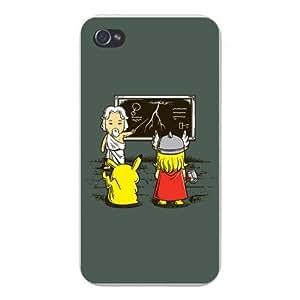Apple Iphone Custom Case 4 4s White Plastic Snap on - Funny Humor Pocket Monster & Norse God Superhero Parody Electric Lightning Bolt Classroom by icecream design