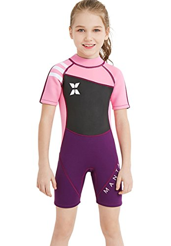 Neoprene Swimsuit Girls Boys 2.5mm Thickness Premium Short or Long Back Zipper One Piece Thermal UV Protection Youth Swim Wetsuit