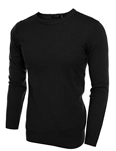COOFANDY Men's Casual Slim Fit Crewneck Sweater Long Sleeve Basic Knitted Pullover Sweaters (L, Black) by COOFANDY (Image #1)