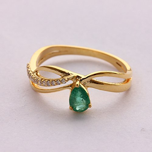Real 0.05ct Certified Diamond Solid 18k Yellow Gold Emerald Wedding Ring (0.05 Ct Real Diamond)