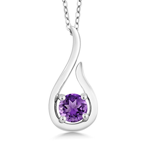Amethyst Drop Pendant Necklace (0.45 Ct Round Purple Amethyst 925 Sterling Silver Raindrop Pendant With Chain)
