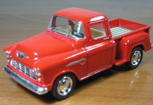 1/32 Scale 1955 Chevy Stepside Pick-up Truck Metal Diecast Model Collection Pull Back Action Kinsmart Red