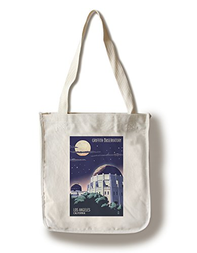Lantern Press Los Angeles, California - Griffith Observatory at Night (100% Cotton Tote Bag - Reusable)