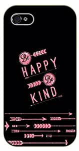 "iPhone 6 (4.7"") Be happy, be kind. Pink arrows - Black plastic case / Inspirational and motivational life quotes / SURELOCK AUTHENTIC"
