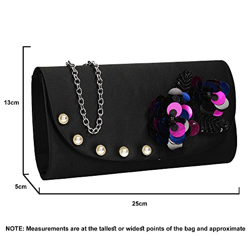 Celebrity Ladies Floral Evening Clutch Night Prom Wedding Black Out Flapover Bag Party SWANKYSWANS Joyce zEqvwI8