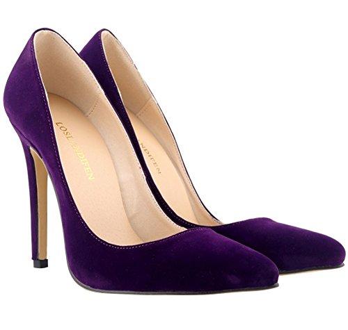 Suédé Talon Talon Uni Femme Mariage Aiguille Escarpins Bout Simple 11 wealsex Violet Couleur Classique Pointu Soirée Cm Tf7q5xWEw