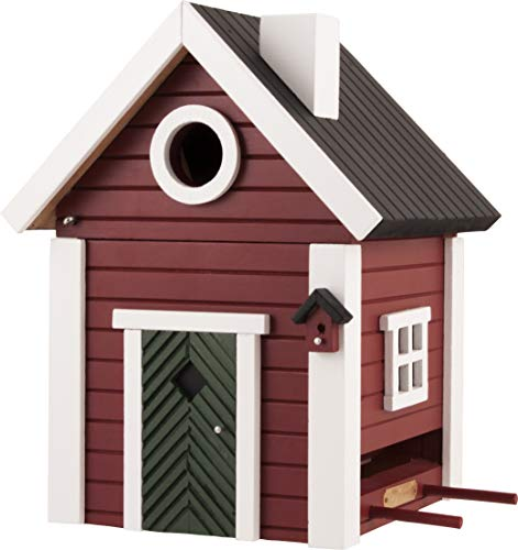 WILDLIFEGARDEN Multiholk Red Cottage Birdhouse, Switches from Nest-Box to Feeder, Weather-Resistant Wood, Multiple Mounting Options, Designed in Sweden