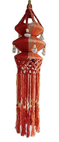 Hanging Silk Lantern Handmade Indoor Outdoor Decor Asian Style, 7