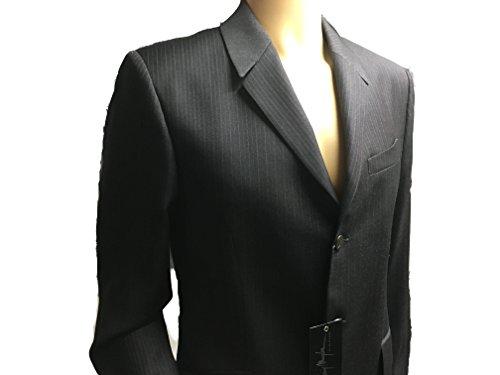 Thierry Mugler Paris Men's Designer Suit Set Includes Jacket and Pants (50R-EU 38R-USA, Black/Red Pin Stripe (100% WOOL)) -