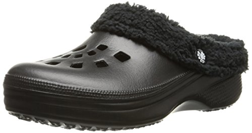 DAWGS Womens Fleece Dawgs Indoor Outdoor Fluffy Clogs Slippers Black/Black 4j8JYiK