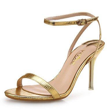 FYios Club de Mujeres Sandalias Zapatos de Cuero PU Boda Vestido de Noche &Amp; Stiletto Talón Silver Rose Gold US8 / EU39 / UK6 / CN39