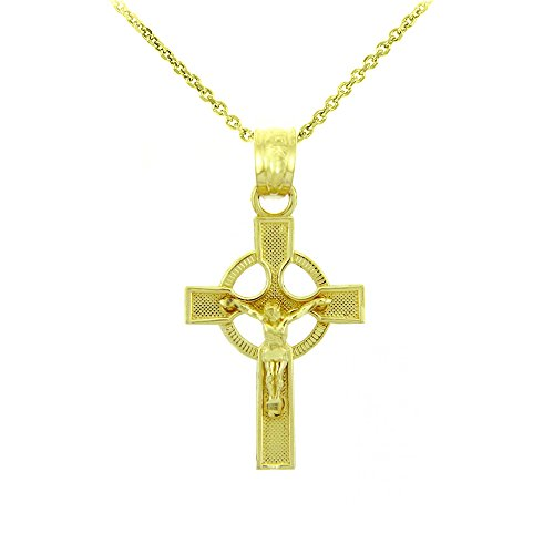 14k Yellow Gold Ancient Celtic Cross Charm Eternity Crucifix Necklace, 16