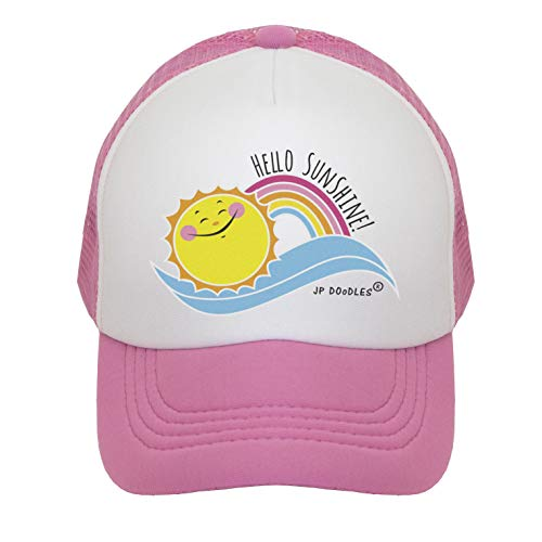 (JP DOoDLES Hello Sunshine Kids Trucker Hat. (Light Pink, Kiddo 2-5 YRS))