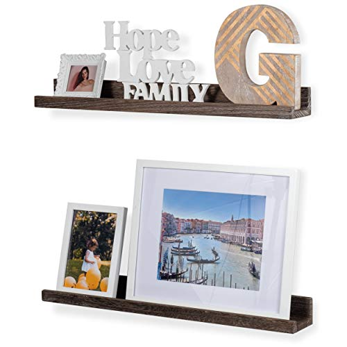 - Rustic State Ted Wall Mount Narrow Picture Ledge Shelf Display | 24 Inch Floating Wooden Shelves Distressed Brown Set of 2