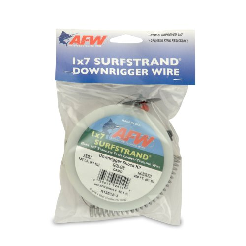 American Fishing Wire Surfstrand 1x7 Stainless Steel Downrigger Wire (Shock Kit Assembly), 135 Pound Test, Camo Brown Color, ()