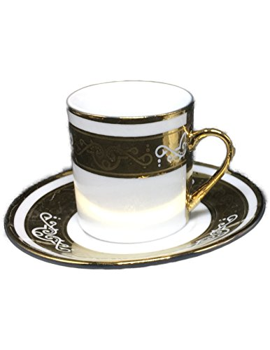 Pattern Demitasse - Porcelain China Espresso Turkish Coffee Demitasse Set of 6 Cups + Saucers with Faux Finish Patterns (Golden Infinity)