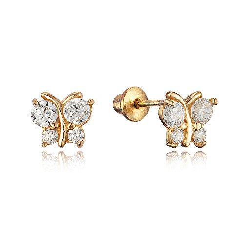 14k Gold Plated Brass Butterfly Cubic Zirconia Screwback Girls Earrings with Sterling Silver (Yellow Gold Butterfly Earrings)