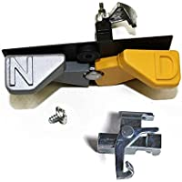 Kirby Vacuum Neutral Drive N D Pedal Switch Lever, Black Housing A Dark Gray Pedal on the Left and a Yellow Pedal On Right With 1pk Neutral Pedal Cam Bracket.