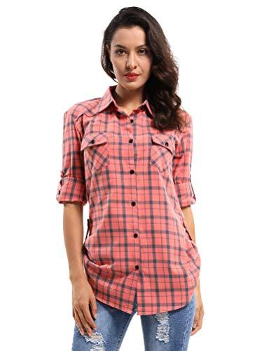 OCHENTA Women's Long Sleeve Button Down Plaid Flannel Shirt M041 Orange Plaid - Flannel Checkered Shirt