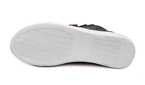 Dicke Schnürsenkel Flats Damen High Sohle Klassisch Schwarz Kunstleder Top Sneakers Aisun wt8gq0x