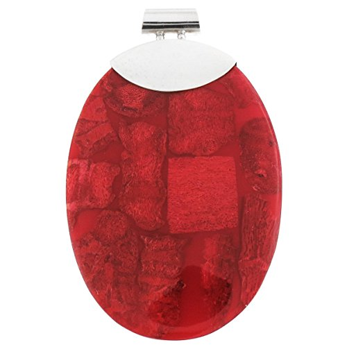 Oval Genuine Red Sponge Coral Mosaic 925 Sterling Silver Pendant, 2 (Red Coral Oval Pendant)