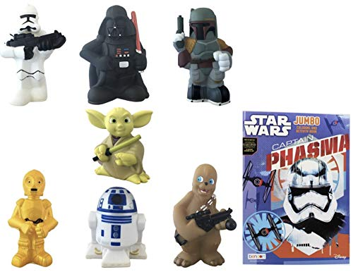 Disney Parks Exclusive Star Wars Set of 7 Character Squeeze Toys Play Set with Bonus -