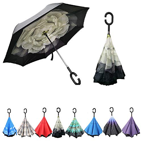 - CUBEIBEI Inverted Umbrella, Double Layer Reverse Umbrella, Windproof UV Protection Big Straight Umbrella for Car and Outdoor Use by, Big Stick Umbrella with C-Shaped Handle (Gardenia)