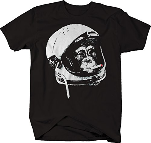 Astronaut Monkey in Space Smoking A Cigarette Comic Space Nerd Tshirt Men Large Jet -