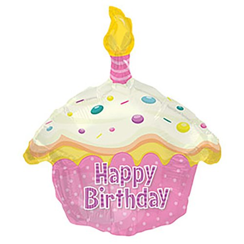 CTI Foil Balloon 414019P BIRTHDAY PINK CUPCAKE SHAPE, -