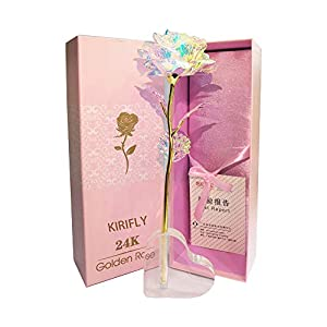 KIRIFLY Artificial Rose Gifts Fake Flowers Roses Presents for Women Plastic Cellophane Flower Birthday Anniversary Engagement Colorful Gifts (Heart Stand)