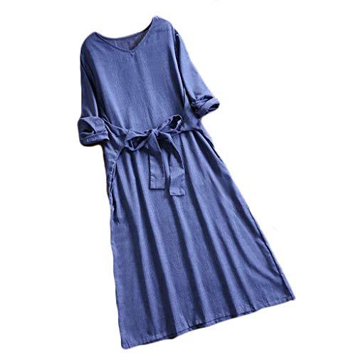 Women Dress, Caopixx Women's Summer Casual Solid V-Neck Long Sleeve Elegant Dress with Belt Blue -