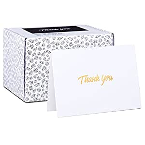 Amazon 100 thank you cards white bulk note cards with gold 100 thank you cards white bulk note cards with gold foil embossed letters perfect reheart Gallery