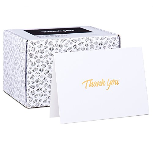 - 100 Thank You Cards - White Bulk Note Cards with Gold Foil Embossed Letters - Perfect for Your Wedding, Baby Shower, Business, Graduation, Bridal Shower, Birthday, Engagement