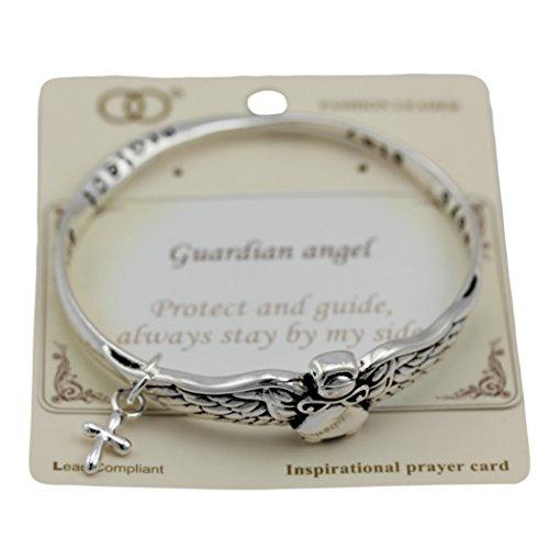 Twisted Cross Charm (Guardian Angel, Cross Angel Wings Twisted Metal Bangle Bracelet with Dangle Charm Antique Silver Tone)